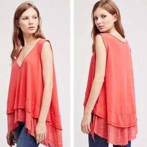 We the Free Coral Peachy Layered Tank